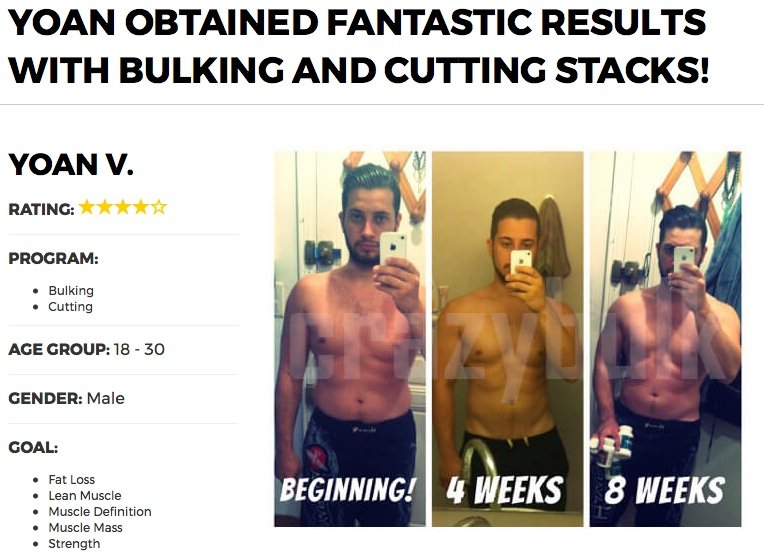 bulking stack results before and after photo
